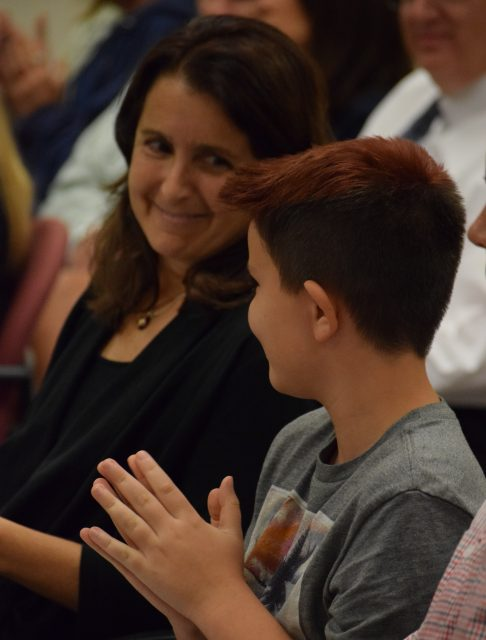 Alisa Bowman, and her son, Ari, spoke out to defend transgender rights at Monday's school board meeting.