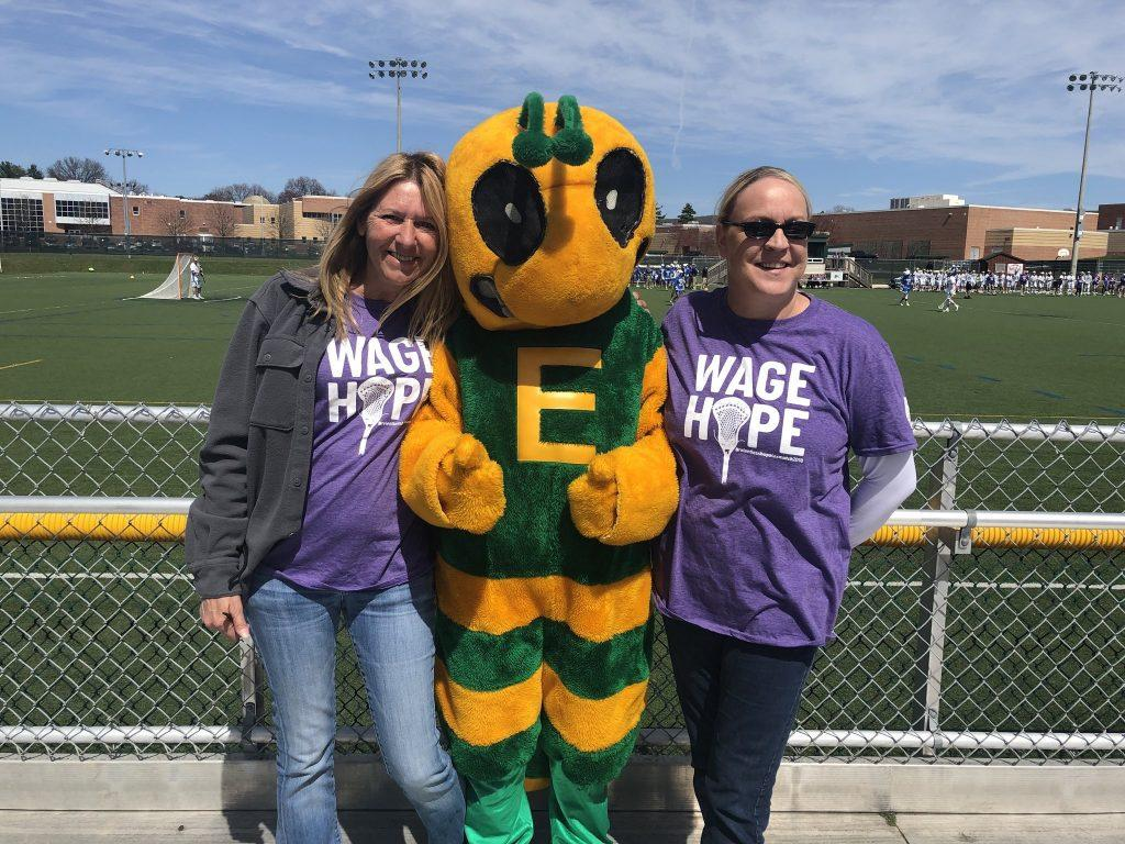Hornet poses with fans at EHS lacrosse pancreatic cancer fundraiser. Photo courtesy of @EHSHornetfun