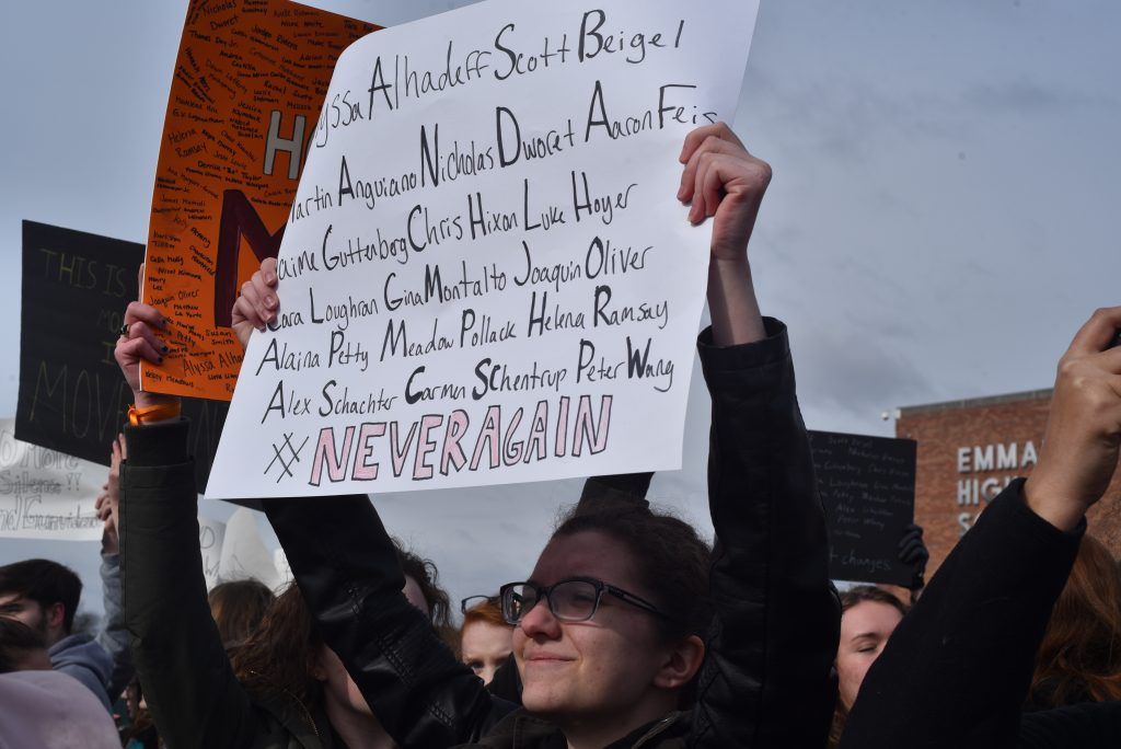 Sophomore Sarah Rabenold participated in the national school walkout on March 14.