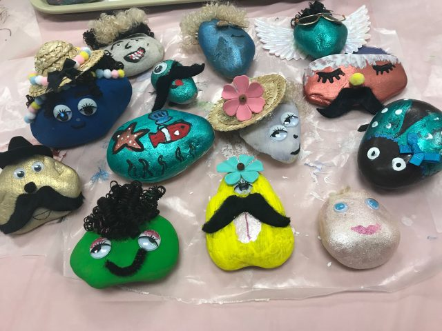 A collection of pet rocks dries in the makerspace. Photo by Kelly Bower.