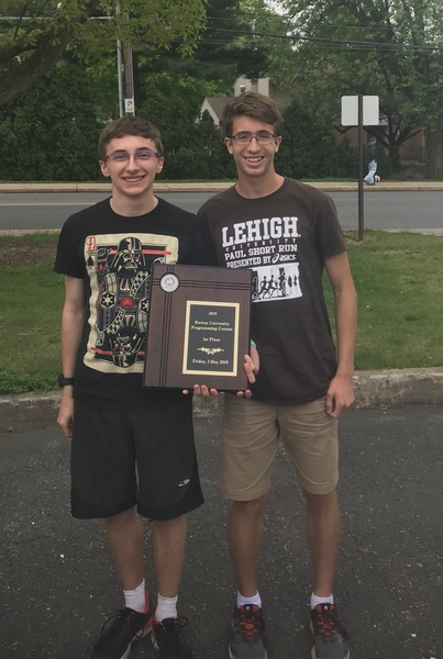Geoffrey Kleinberg and Cameron Fanning with their award at Rowan University. Photo courtesy of Beth Stoudt.