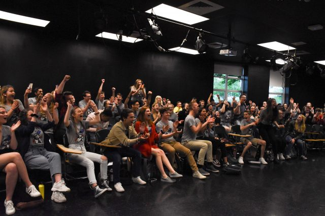 """Les Misérables: School Edition"" cast watches Freddy nominations together. Photo by Emma Brashear."