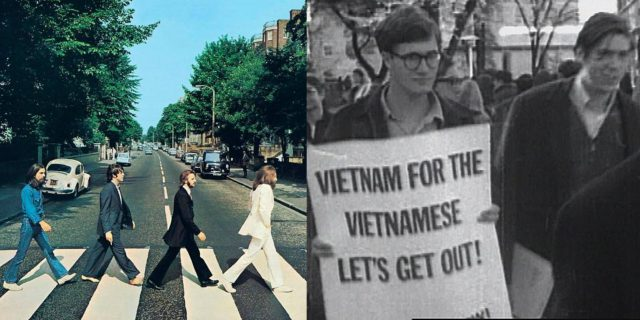 Album photo courtesy of Independent. Photo of Vietnam War protest courtesy of New Yorker.