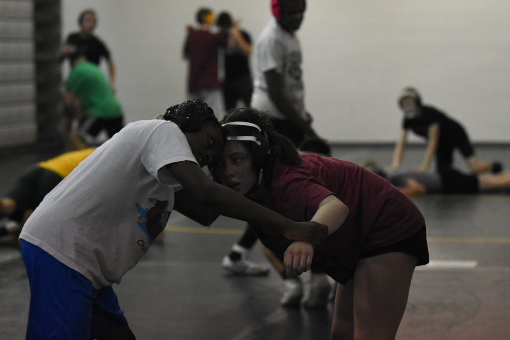 Bliss+Brunhoeber+wrestles+at+a+middle+school+practice.++Photo+by+Emma+Brashear