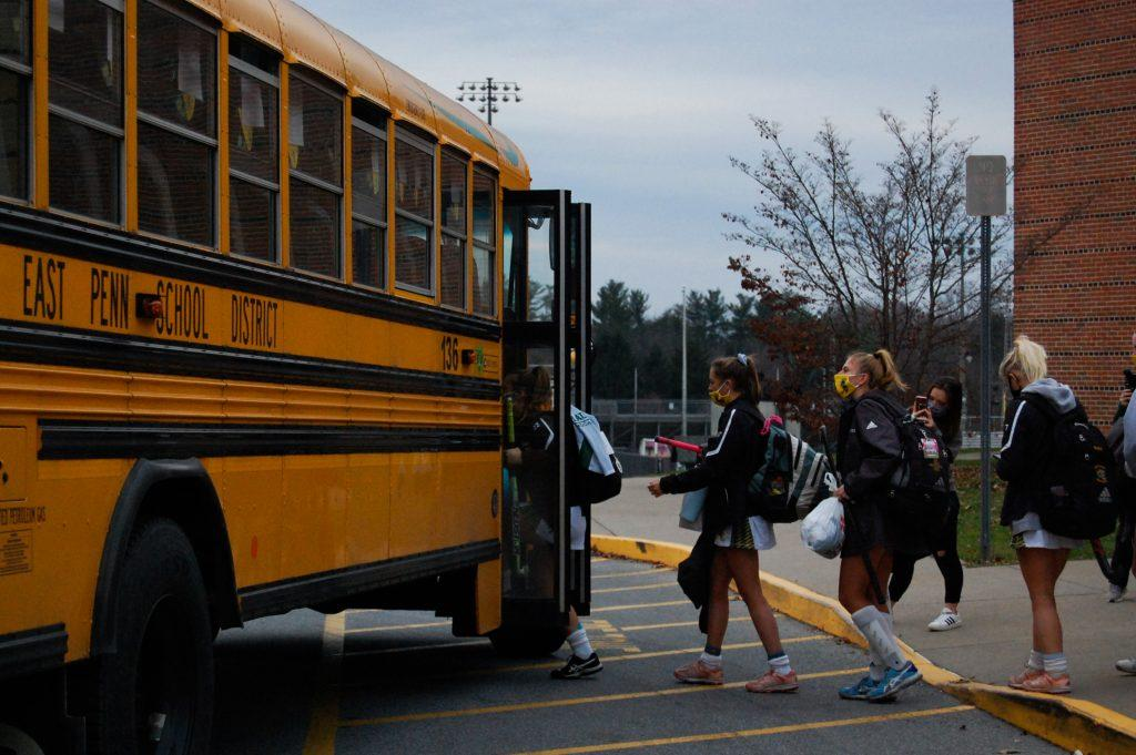The field hockey team boards the bus to go to their last game of the season. Emmaus won 4-0, and the players are turning in their uniforms this week as the season finishes. Photo by Meliha Anthony.