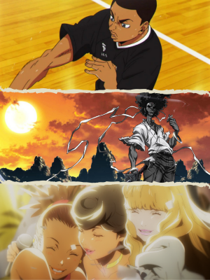 Aran Ojjiro (Top), Afro Samurai (Middle), Characters by Shinichirō Watanabe (Bottom), representing racial diversity in anime. Photos courtesy of pinterest.com, wordpress.com, and Madmax.com.