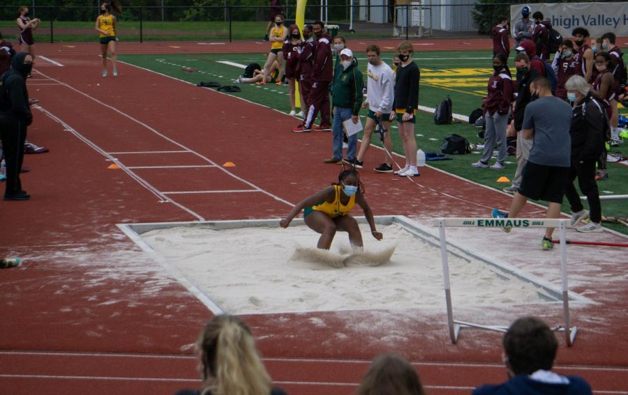 Sophomore Sheldyne Pierre competes during a jumping event at the track meet on May 3; both the boys and girls track teams beat Stroudsburg High School. Photo by Alice Adams.