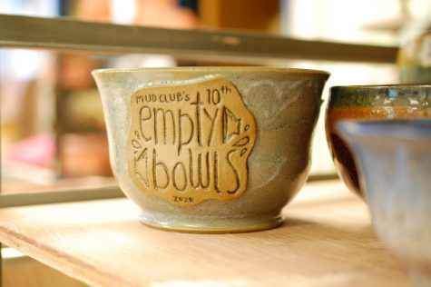 Each bowl is engraved to show that its a part of the Empty Bowls event. Photo by Meliha Anthony.
