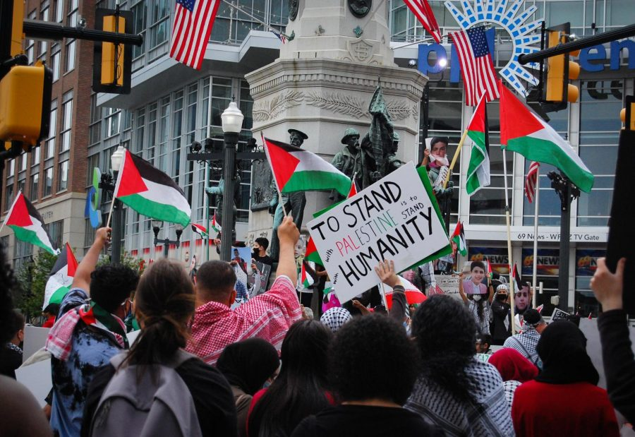 """Amidst the crowd and a plethora of Palestine flags, one protester holds a sign that says, """"To stand with Palestine is to stand with humanity."""" Photo by Meliha Anthony."""