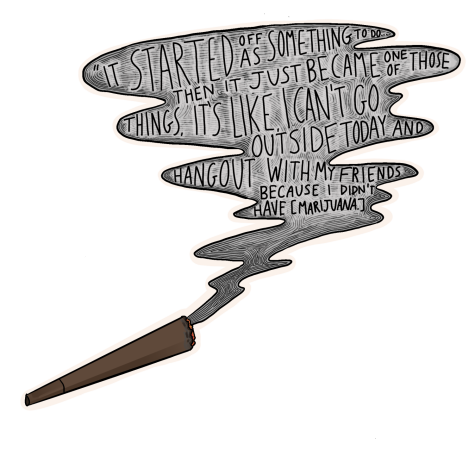 Illustration of a joint and smoke. Inside the smoke contains a quote by Smith.
