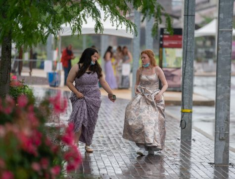 Two students arrive at the Bethlehem Steelstacks, where Emmaus High Schools senior prom was held on June 11. Photo by Alice Adams.