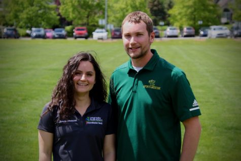 Elizabeth Del Re and Mark Yorty are on-campus athletic trainers at Emmaus High School. Photo by Bethany Brown.