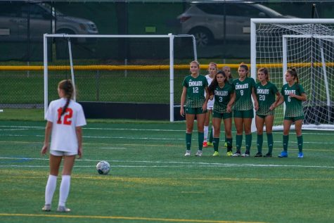 Emmaus players form a defensive wall to protect their goal at the game against Northampton. Emmaus beat Northampton with a score of 3-0 at the game on Sept. 8. Photo by Alice Adams.